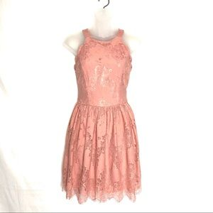 Altar'd State Pink Lace Scalloped Dress